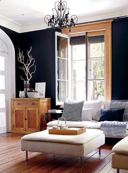 Black painted walls with oak trim