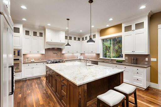 Wood Island with Painted Cabinets