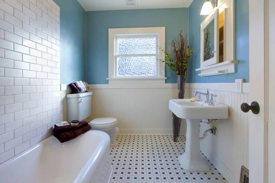 blue bathroom walls