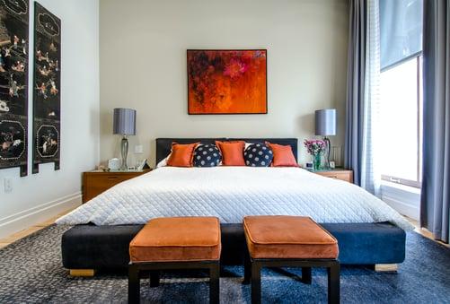 Bedroom with walls painted beige