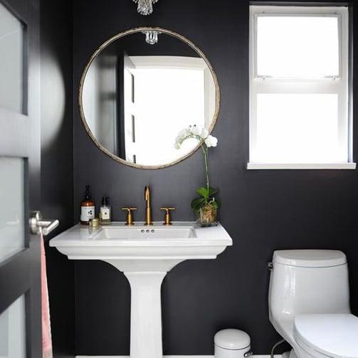 Black painted bathroom
