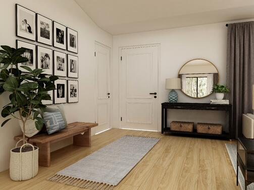 Entryway with beige painted walls