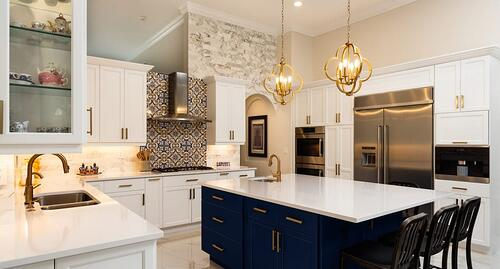 Kitchen with two-tone navy and white paint
