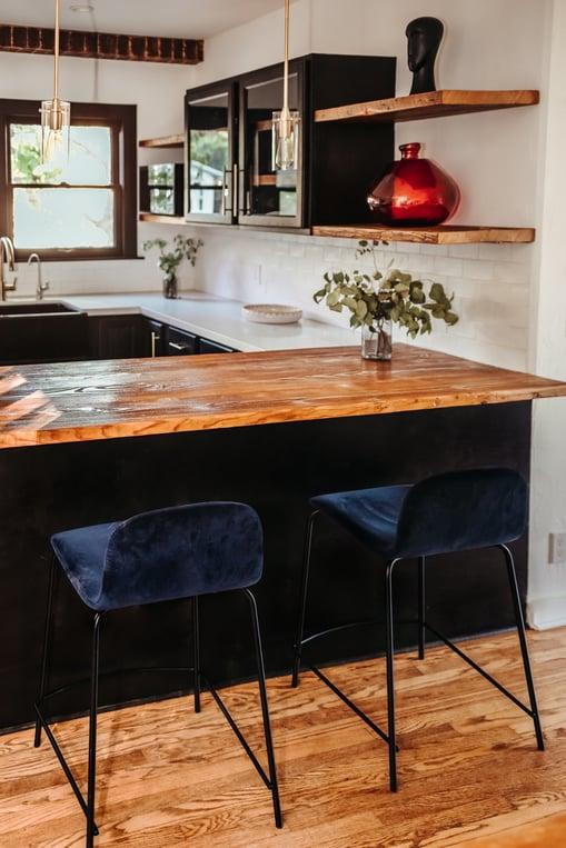 Black painted kitchen island