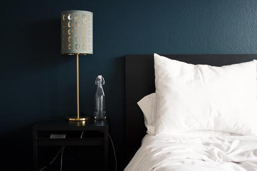 Bedroom with navy blue walls