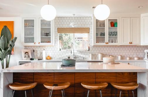 Marble kitchen island