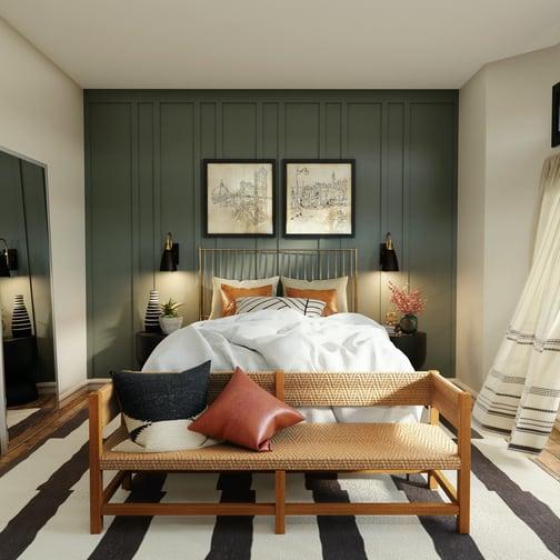 Bedroom with dark green walls