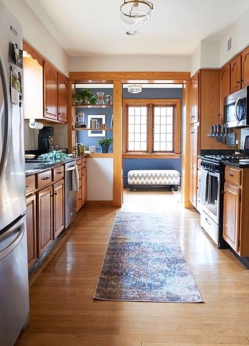 Oak trim with navy walls